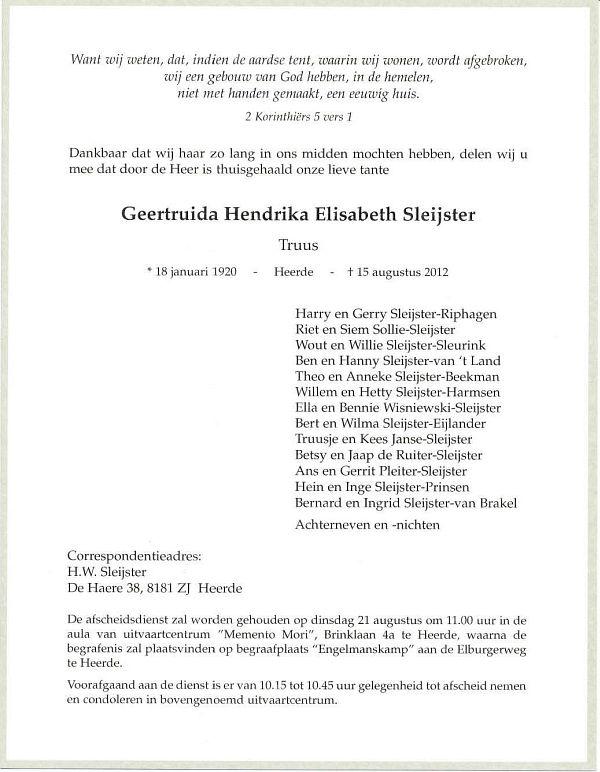 Ongebruikt Geertruida Hendrika Elisabeth (Truus) Sleijster KT-21